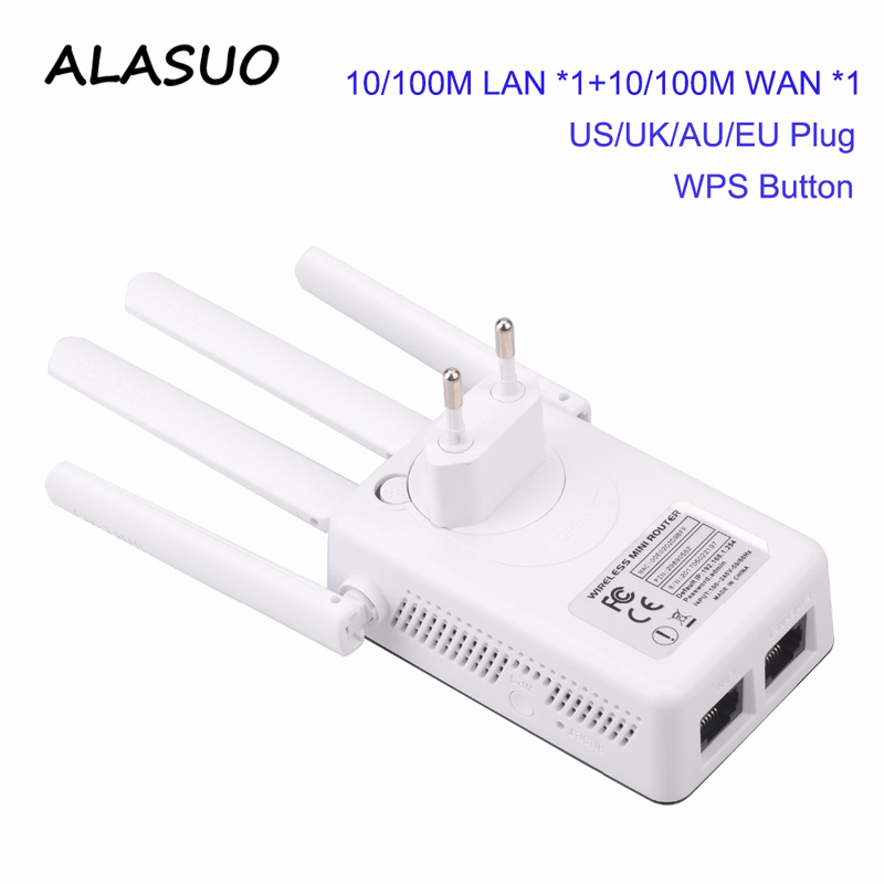 WiFi Repeater Amplifier 2.4GHz 300Mbps 2 RJ45 Ports High Gain Antennas Booster Wi Fi Access Point Long Range Network Extender
