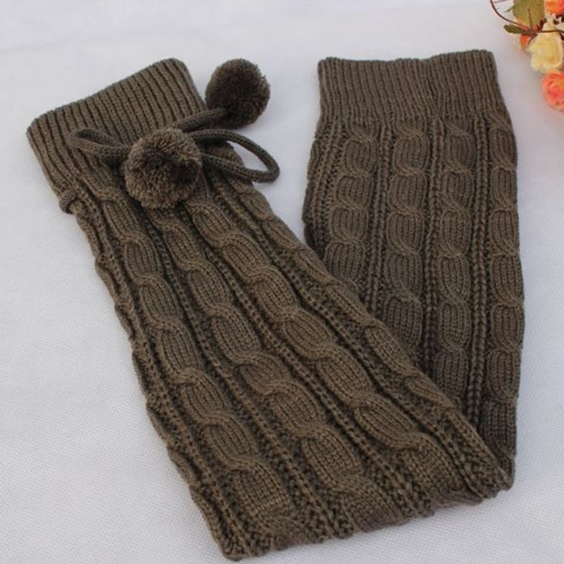 Women Winter Leg Warmers Knee High Thigh High Tie Cable Knitted Long Boot Socks LX9E