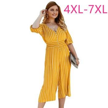 2020 summer plus size jumpsuit for women large short sleeve slim elastic waist stripe V neck jumpsuits yellow 4XL 5XL 6XL 7XL