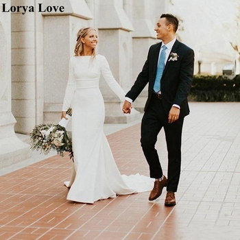 Long Sleeves Muslim Arabic Wedding Dresses 2020 Boho Elegant Korea Summer Plus Size Satin Bridal Gowns Cheap Vestidos De Novia - discount item  30% OFF Wedding Dresses