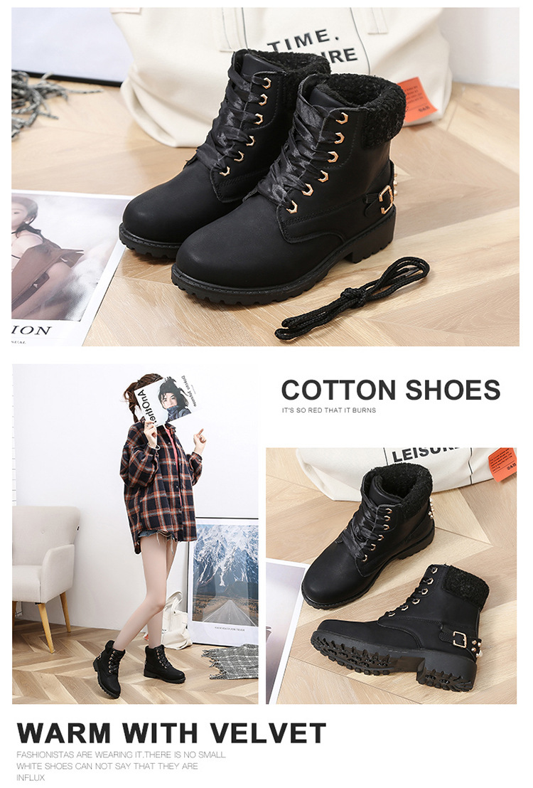 Size 43 women winter boots 2019 New Arrival Fashion Suede Women Snow Boots Metal rivet Warm Plush Women's Ankle Boots Flat shoes 39