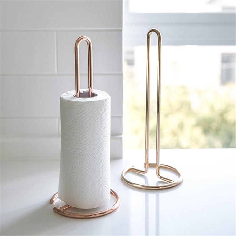 Kitchen Roll Paper Towel Holder Stainless Steel Bathroom Tissue Stand Rose Gold Napkins Rack Home Kitchen Standing Paper Holder