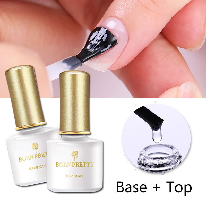 BORN PRETTY No Wipe Top Coat Base Coat UV Gel Long Lasting Nail Gel Shiny Sealer Manicure Set Soak Off Top Base Nail Varnish