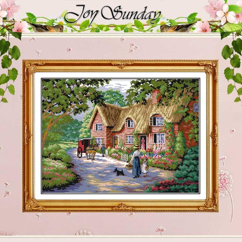 시골의 삶 십자수 스티치 11 14CT 크로스 스티치 세트 풍경 크로스 스티치 키트 자수 홈 장식 바느질 작업