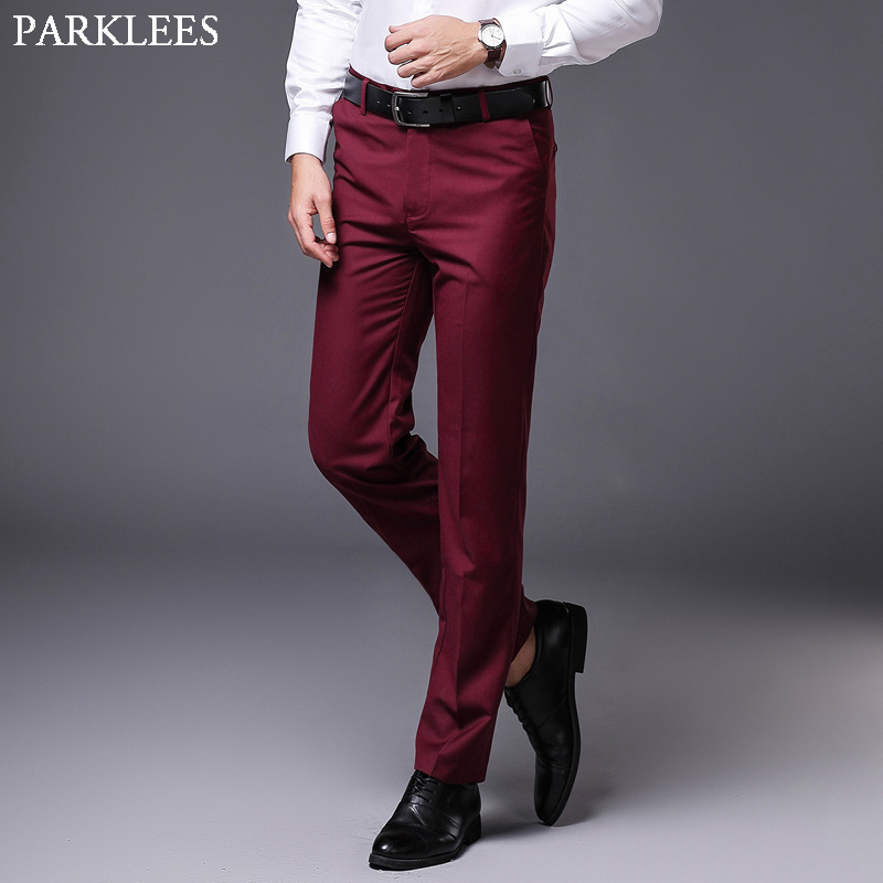 Mens Slim Fit Straight Dress Pants 2019 Brand Flat Front Causal Trousers Male Business Formal Pantalon De Vestir Hombre Wine Red Aliexpress
