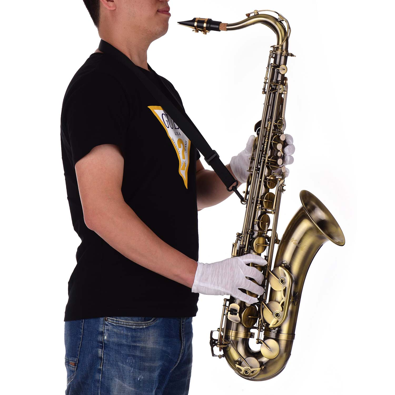 Antique Finish Bb Tenor Saxophone Sax Brass Body White Shell Keys Woodwind Instrument with Carry Case Gloves Sax Neck Straps