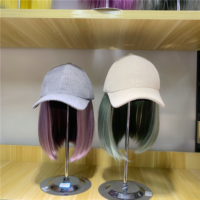 01910-yuchun532702071  Fashion Hat Patchwork  False Hair  Lady Baseball  Hat  Women Leisure  Visors Cap