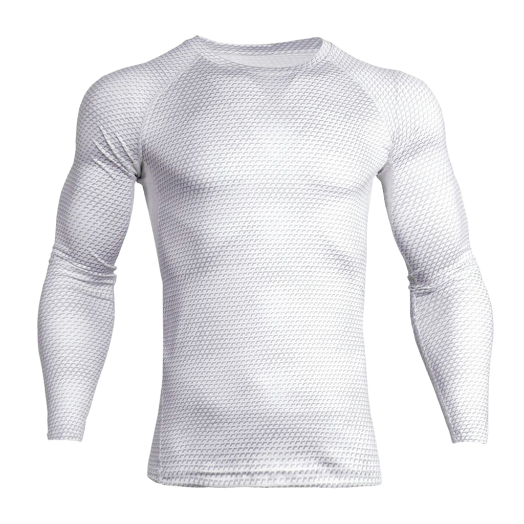 Men White Tight Sports Shirt Long Sleeves Top Fitness Gym Running Tee