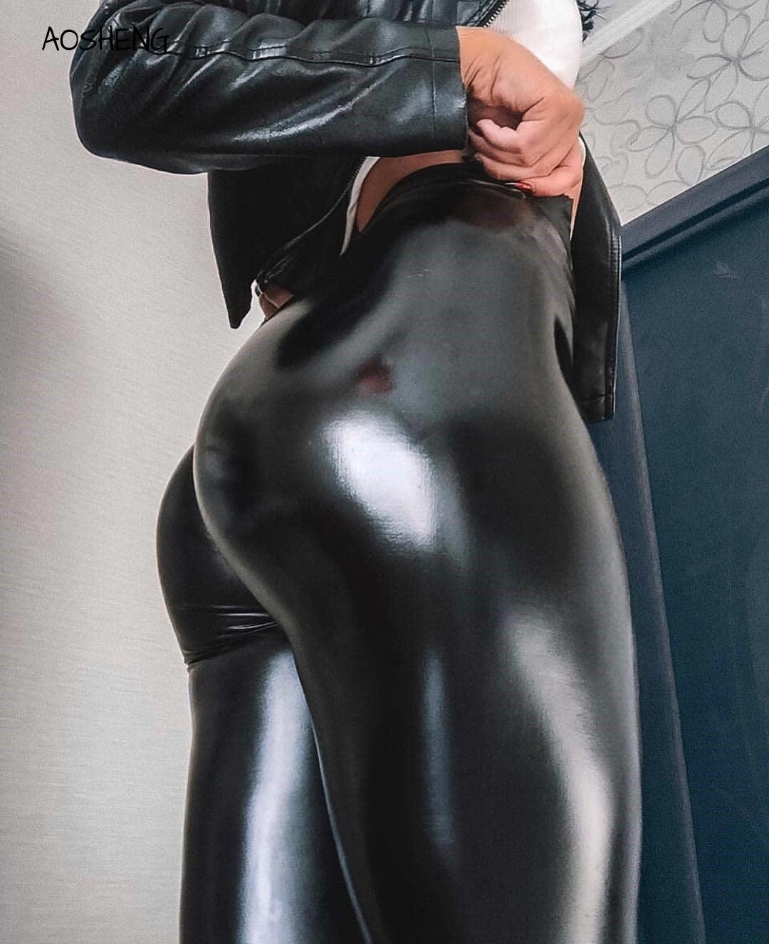 2020 Fashion Faux Plus Size Leggings For Women XXXL Leather Leggings Women High Waist Leggings Stretch Slim Black Legging