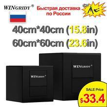 Wingridy studio 40cm 236in 60cm 15.8in, led, dobrável, estúdio fotográfico, softbox, caixa de iluminação, tenda com 3 cores, fundo caixa de luz
