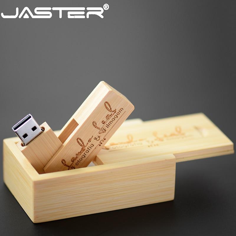 JASTER Customized Logo Wooden USB + Box USB Flash Drive 4GB 8GB 16GB Pen Drive Memory Card 32GB 64GB USB DIY LOGO Wholesale