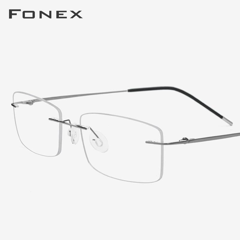 Titanium Alloy Eyeglasses Frame Men Ultralight Square Prescription Myopia Optical Rimless Glasses Frame Women Korea Eyewear 3126