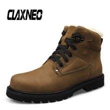 CLAXNEO Man Winter Boots Plush Fur Warm Male Snow Boot Genuine Leather Mens Shoe Big Size