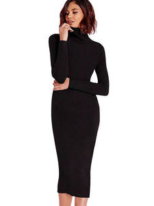 Wipalo Sweater Dresses Robe Turtleneck Elastic Long-Sleeve Bodycon Slim Winter Women Autumn