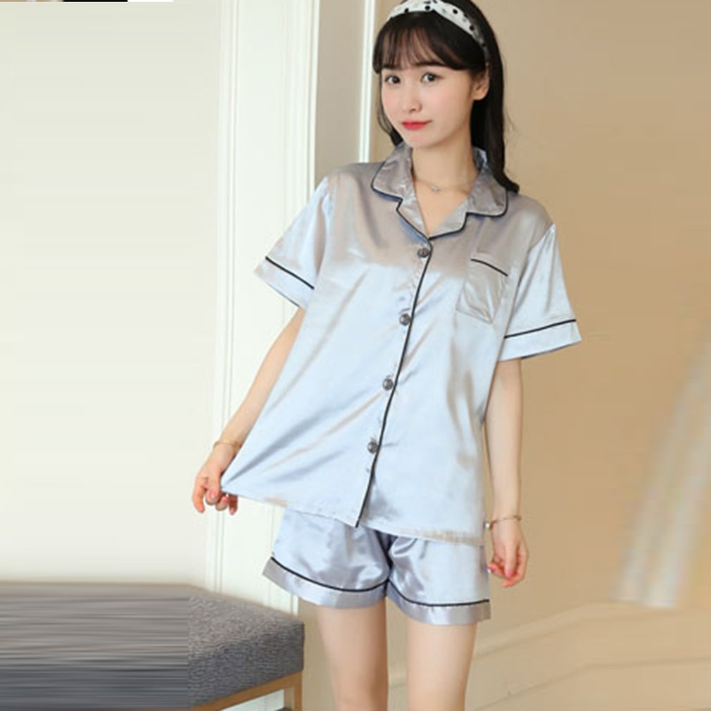 Women Short Pajamas Set Silk-like Satin Sleepwear Short Sleeves Top Nightwear With Pants Button Closure Summer Loungewear