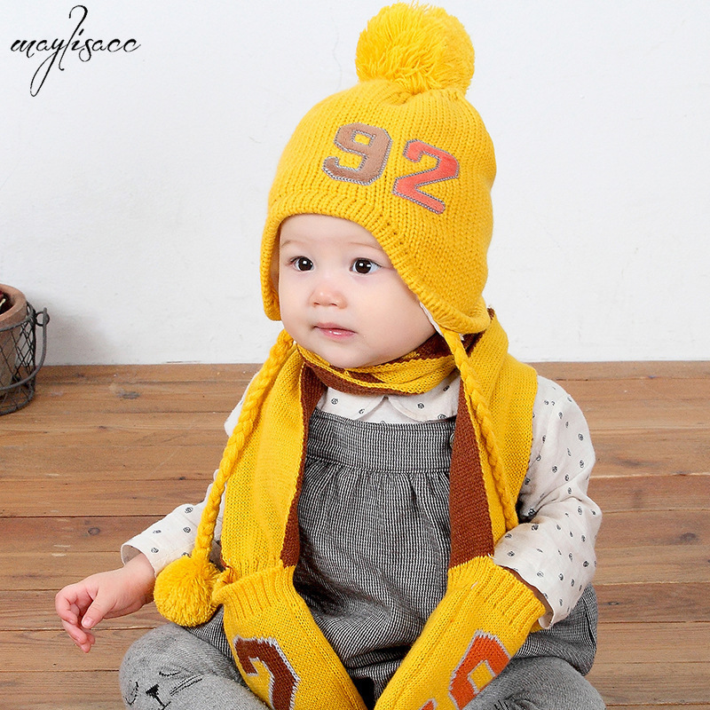 0 3 Years Old Children Baby Cartoon Knitting Cap Scarf Gloves 3 Pcs Set Baby Solid Color Velvet Cap Autumn Winter Kids Warm Hat in Scarf Hat Glove Sets from Mother Kids