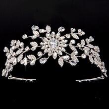 تاج وتيجان HADIYANA نمط جديد الإبداعية زهرة الأشكال تصميم للنساء الزفاف مشبك شعر زركون BC4414 Sombreros