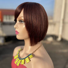 Short Wig With Human Hair Bangs Cheap Brazilian Remy Colored Bob Wigs For Black Women Dark Brown Color Soft Full Machine Wig