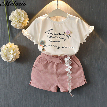 Melario Casual Girls Clothing Sets Summer Floral T-shirt Shorts Suit 2pcs Kids Clothes Set New Sleeveless Girls Boutique Outfits 2017 new summer children clothing sets little pony t shirt tulle tutu skirt 2pcs suit kids casual sport suit girls clothes set