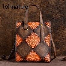 Johnature dużej pojemności Retro luksusowe torebki damska torba typu Bucket 2020 nowy prawdziwej skóry ręcznie na ramię i Crossbody torby