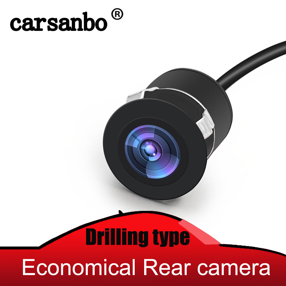Carsanbo Mini Reverse Backup Car Rear View Flush Mount Camera Waterproof Night Vision Wide Viewing Angle With Drill