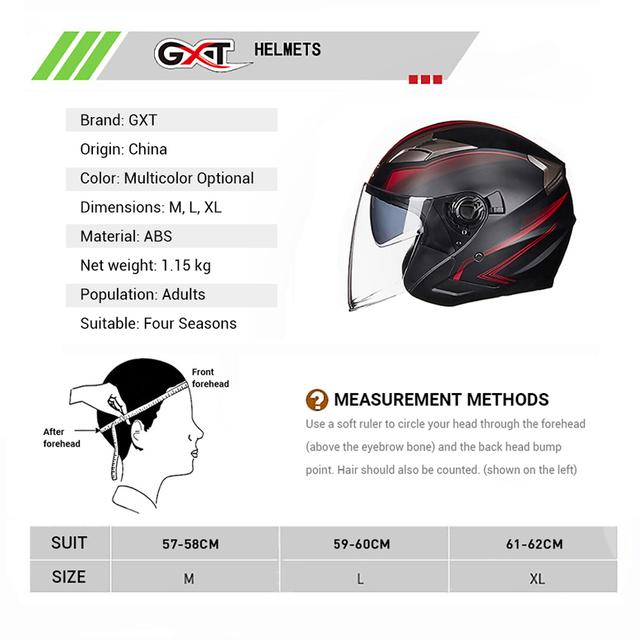 GXT Motorcycle Helmet Open Face Dual Lens Visors Moto Helmet Electric Bicycle Helmet Men Women Summer Scooter Motorbike Helmet