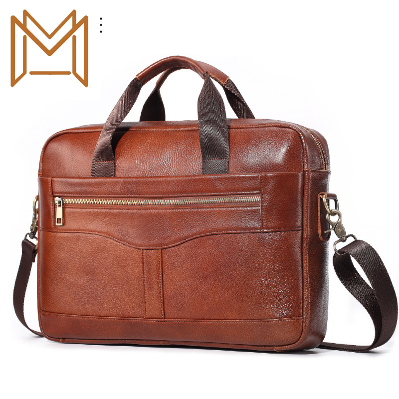 Skin Genuine Leather Man Document Layer Cowhide Oblique Satchel Leisure Time More Function Handbag