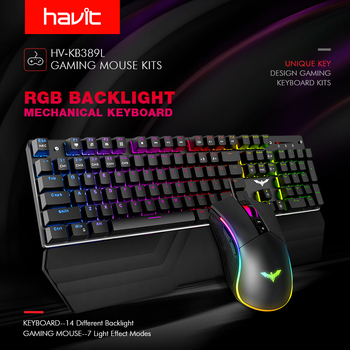 HAVIT Mechanical Keyboard 104 Keys Blue Switch Gaming Keyboard RGB /LED Light Wired USB For US / Russian Keyboard 2