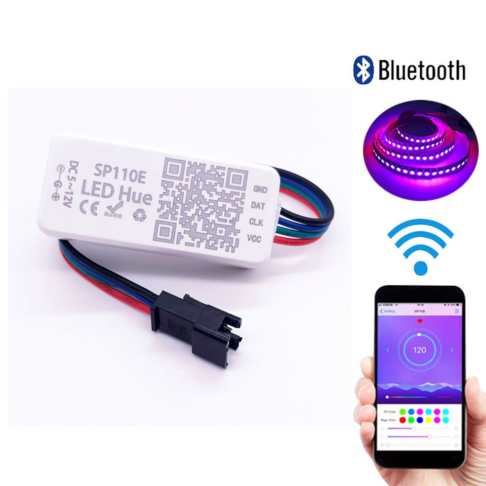 SP110E Bluetooth Pixel Light Controller For WS2811 WS2812B Dimmer SK6812 RGB RGBW APA102 WS2801 Pixels Led Strip IOS Android image