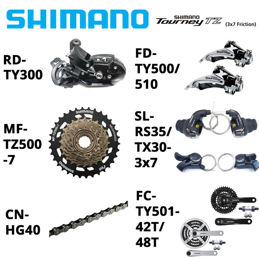 Shimano Tourney 3x7 21 Speed System 7Pcs Groupset RS35 TX30 TZ500-7 Cassette TY300 TY500 DerailleurS HG40 Chains TY501 Crankeset
