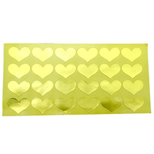 120pcs/lot new Golden Heart Handmade Adhesive Kraft Seal StickerBaking Gift Package Decoration Label Stickers