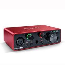 Promoção focusrite scarlett solo 3rd gen 2 entrada 2 saída usb interface de áudio placa de som profissional para gravação microfone