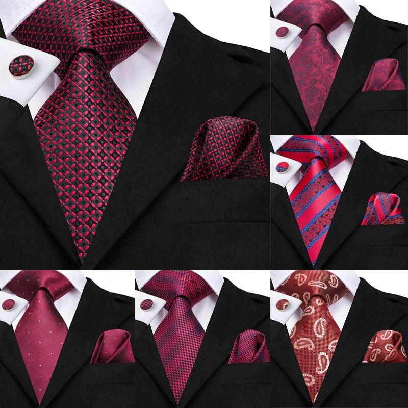 Hi-Tie Burgundy Ties For Men Plaid Tie Set Silk Cravate Deep Red Checked Neck Tie Pocket Square Cufflinks Detachable Collar