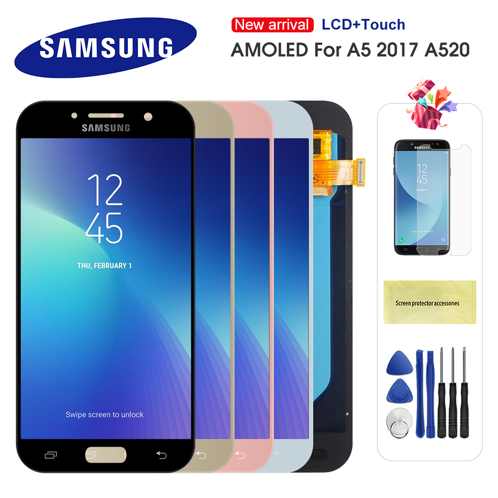 Original Super AMOLED LCD For Samsung Galaxy A5 2017 A520 LCD A520F SM-A520F LCD Display Touch Screen Digitizer Replacment