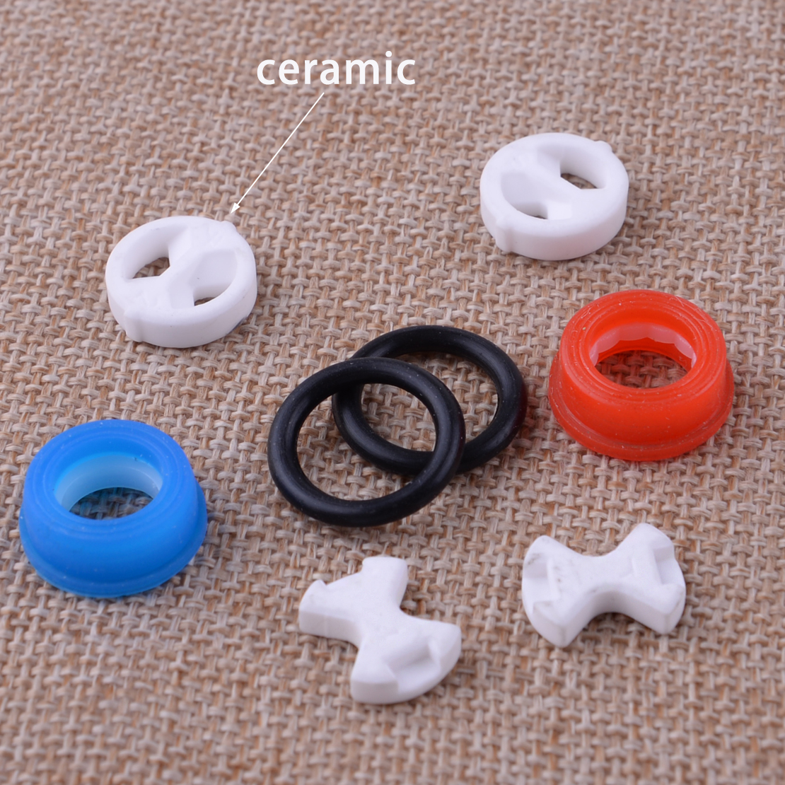 8Pcs/Set High Quality Valve Tap Replacement Ceramic Disc & Silicon Washer Gasket Insert 1/2''