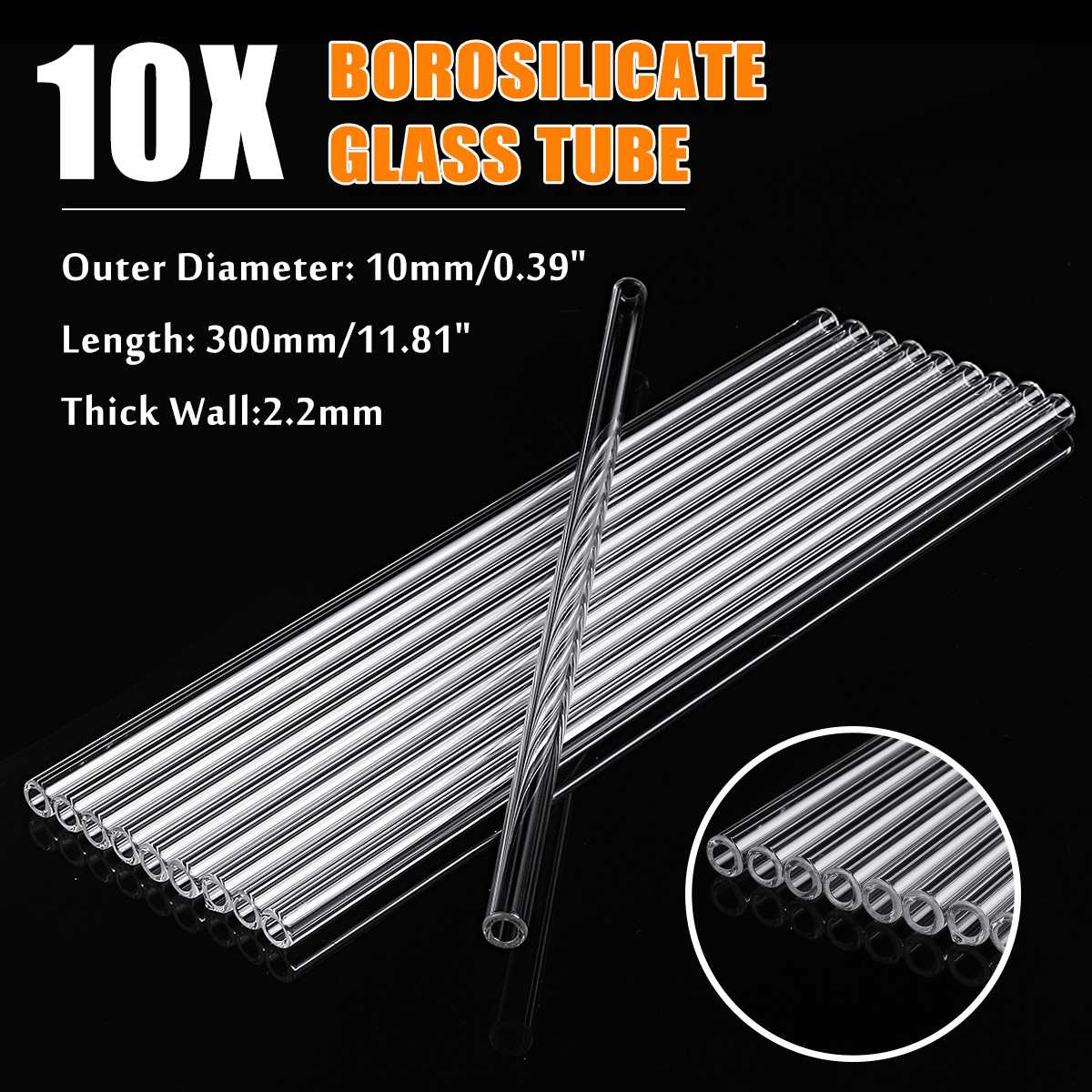 10Pcs 300mm OD 10mm 2.2mm Thick Wall Borosilicate Glass Blowing Tube Lab Tubing For School Lab Chemical Experiment Glass Blowing