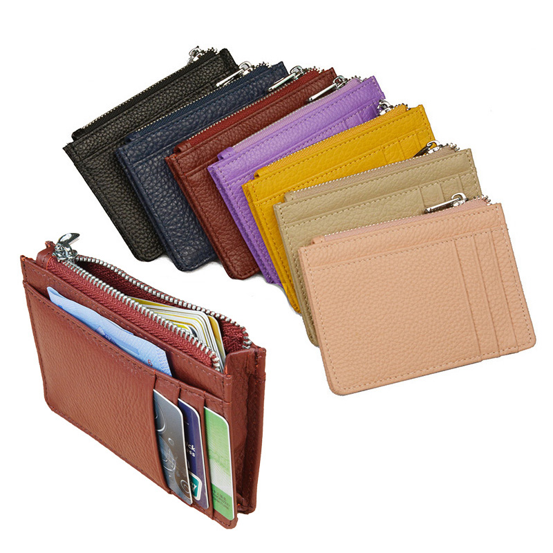 Large Wide Genuine Leather ID Card Holder Fashion Candy Color Thick Zipper Card Wallet Business Bank Credit Card bag