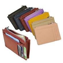Grande grande couro genuíno titular do cartão de identificação moda doces cor grosso zíper cartão carteira banco de negócios saco de cartão de crédito