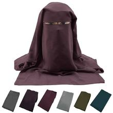 3 ชั้น Niqab Hijab มุสลิมผ้าพันคอหน้าปก Veil อิสลามผ้าพันคอ Burka ยาว Saudi Ramadan เจียมเนื้อเจียมตัวหัวสวดมนต์ khimar ใหม่