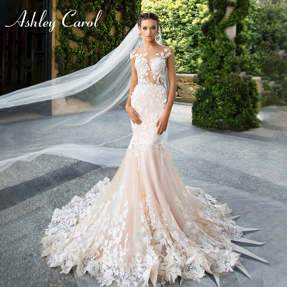 Ashley Carol Invisible Neckline Sexy Backless Mermaid Wedding Dress 2019 New Lace Appliques Bride Dress Romantic Wedding Gowns