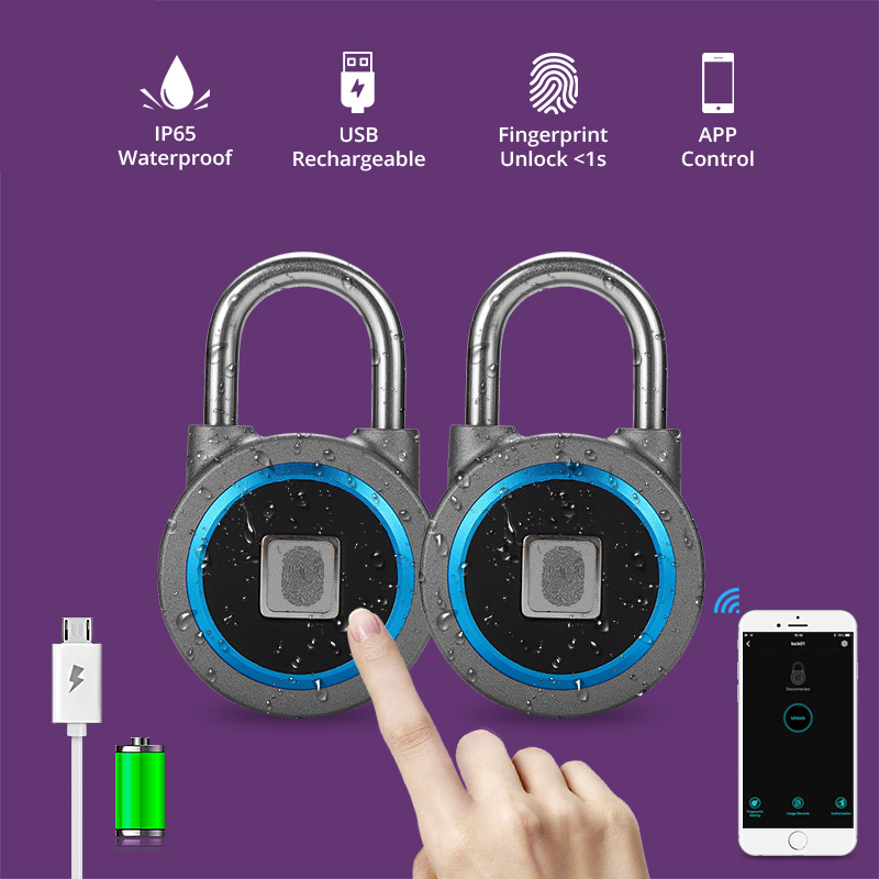 Golden Security Portable Smart Waterproof Keyless Lock APP Control Android IOS Phone Bluetooth Fingerprint Unlock Door PadLock