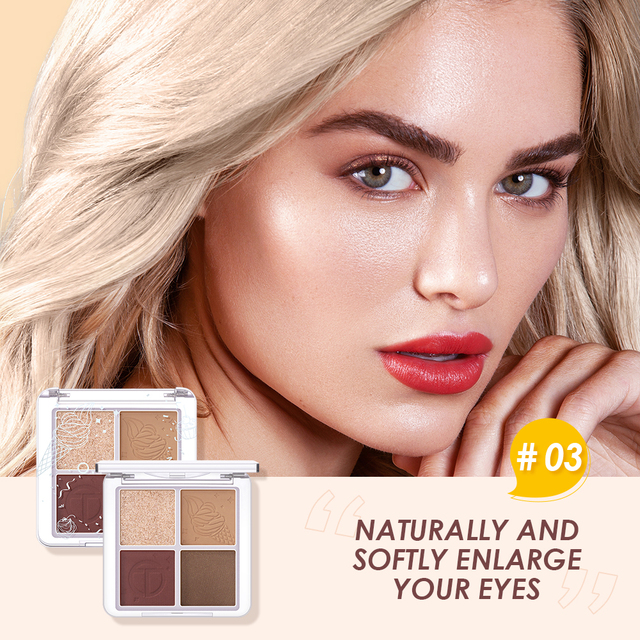 O.TWO.O 4 Color Eyeshadow Palette Peach Waterproof Long Lasting Shimmer  Matte Eye shadow Soft Smooth Shadow Primer Makeup 6