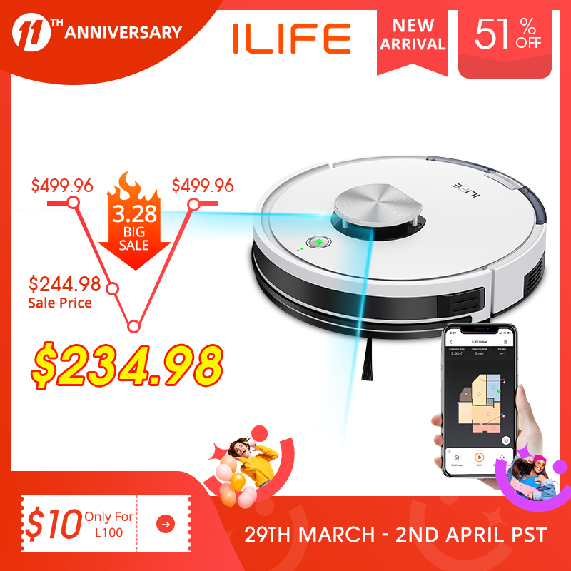 ILIFE L100 robot vacuum cleaner, LDS laser navigation, carpet pressurization, Smart Planned WIFI App Remote Control,Draw Clean 1