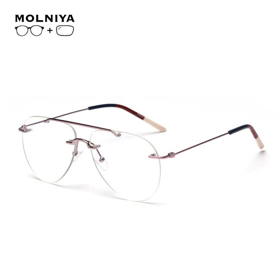 Оправа для очков по рецепту для мужчин и женщин, металлическая оправа с двойным лучом, прогрессивные Мультифокальные очки, очки для близору...