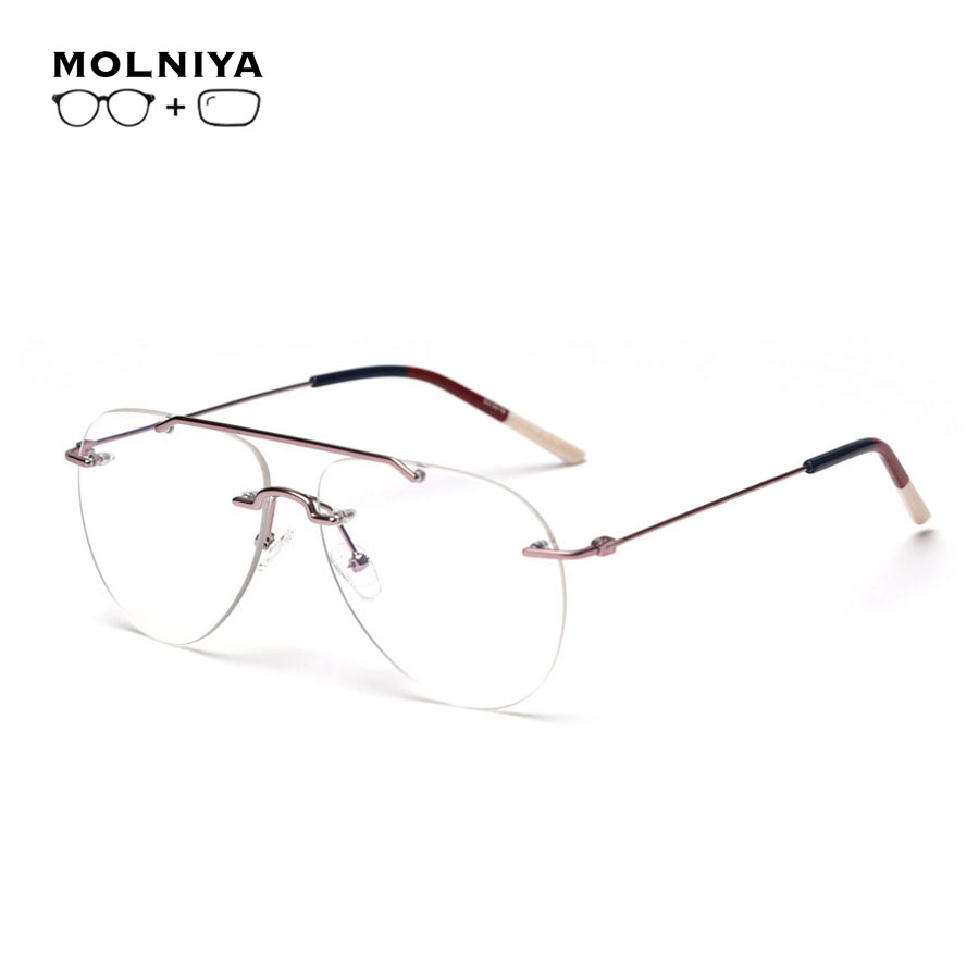 Prescription Glasses Frames Men Women Double Beam Metal Eyewear Frames Progressive Multifocal Eyeglasses Myopia Spectacles