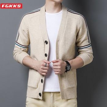 FGKKS Otoño de los hombres de la marca suéter de La Rebeca de cómodo de Los Hombres Calientes de lana suéter delgado hombre moda desenfadada Casual suéteres