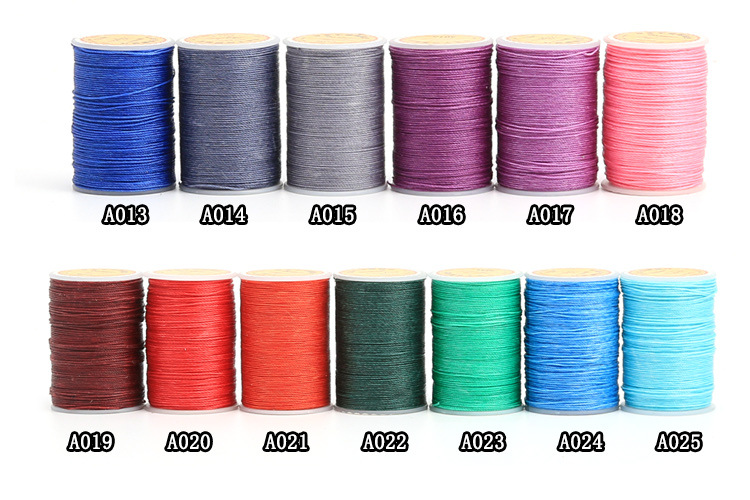 25 Color 0.45/0.55/0.65mm Leather Crafts DIY Hand Sewing Wax Thread Leather Multi-strand Woven Round Wax Thread Leather Craft