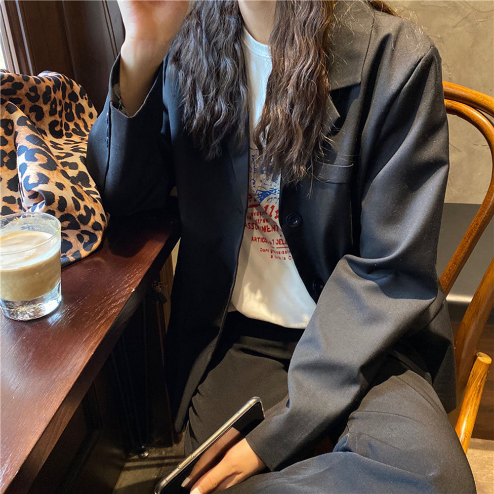 Summer Fashion Solid White Black Blazer Jacket Women Goth Casual Pockets Long Sleeve Work Suit Coat Office Ladies Slim Blazers