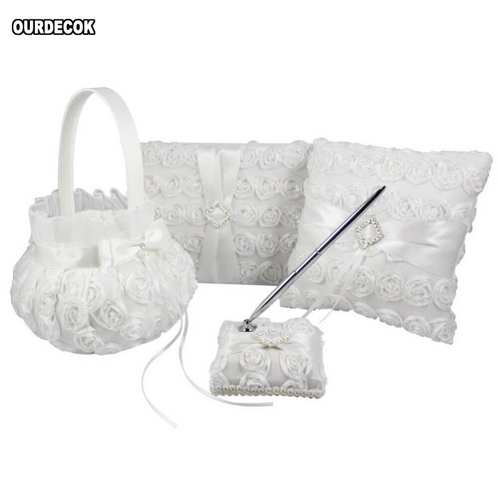 4Pcs lot White Flower Decoration Wedding Guest Book amp  Pen Set  amp Ring Pillow  amp Girls Flower Basket Decor Bridal Products