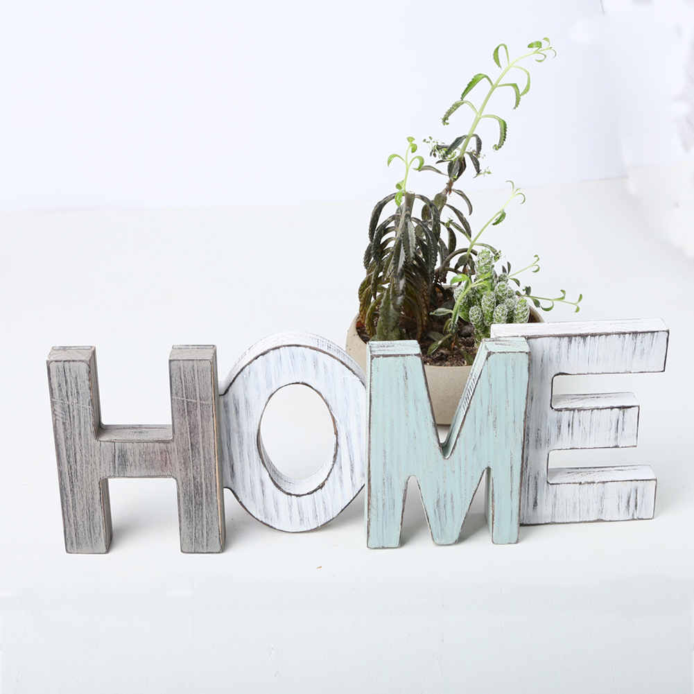 Vintage Wooden Letters Home Decor Wall Furnishing Articles English Home Letters Wood Craft Diy Door Garden Signs Decorations Party Diy Decorations Aliexpress